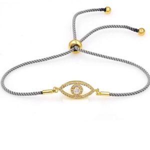 Jewelry - CZ dainty gold evil eye bracelet